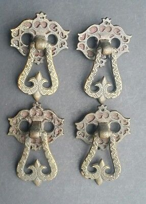 4 Antique Vintage Ornate Brass Drop Ring Drawer Handles Pulls Hardware #Z57
