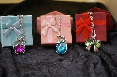 New Silver Gold Crystal Necklace Box w Bow Christmas Gift Stocking Stuffer Lot