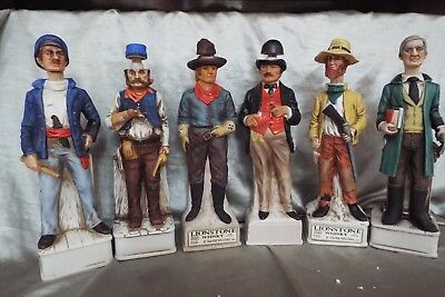 (6) Lionstone Old West Decanters Gambler, Scout, Rr Engineer, Riverboat Captain