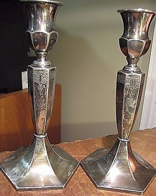VINTAGE Pair WILCOX S.P.CO. INTERNATIONAL SILVER Co. Hexagon Candlestick Holders
