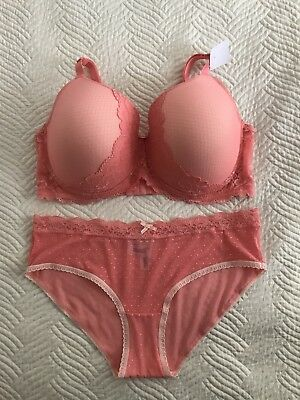 Size 18E Sexy Coral Salmon Pink lace Padded Underwire Bra and 16 Sheer Brief Set