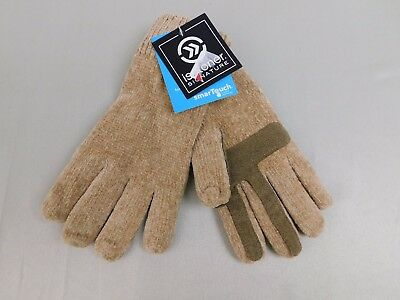 Isotoner SmarTouch Chenille Knit Touch Screen Gloves One Size Camel Beige #5889
