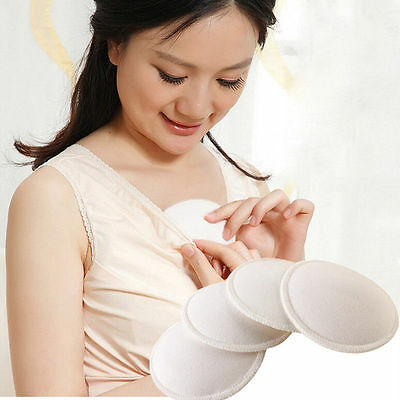 4PCS Bamboo Reusable Breast Pads Nursing Maternity Organic Plain Washable