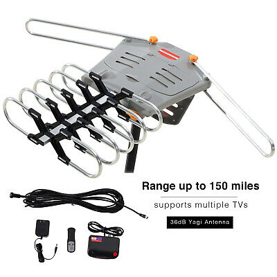 200 Miles TV HDTV 1080P Outdoor Antenna Amplified Motorized HD 36dB UHF VHF FM
