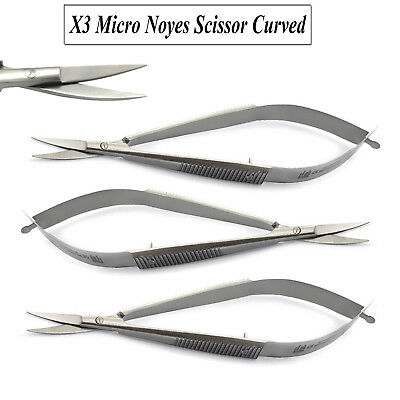 Set of 3 Micro Surgical Noyes Precision Scissors Curved Dental Ophthalmic New CE