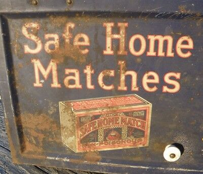 Antique SAFE HOME MATCHES LITHO Tin Store Display Case Rare c 1915 DIAMOND MATCH