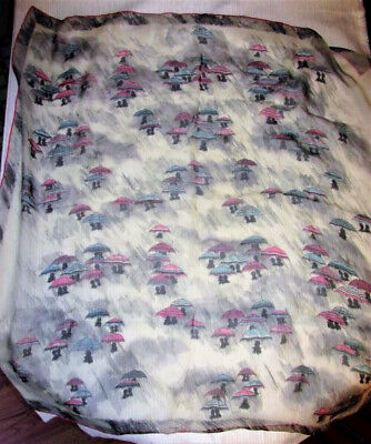 Vtg Echo Silk Sheer Pink Blue Black Umbrellas Sheer Large Square Japan