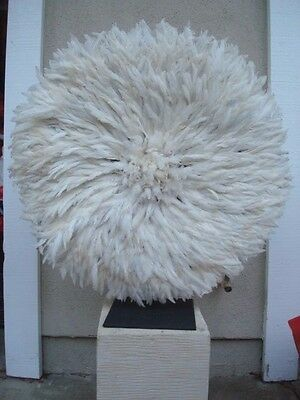 """32"""" White  / African Feather Headdress / Juju Hat / 1st. Quality"""