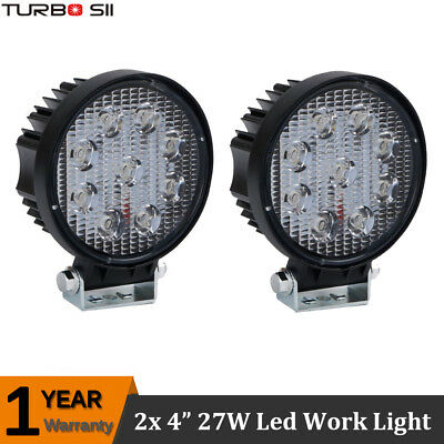 2X Car Truck 27W 12V 24V Round LED Work Spot Light Pod Driving Bright Bulb SUV