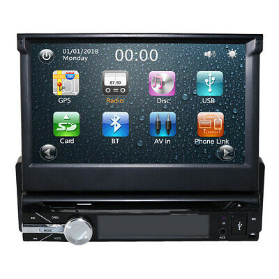 "Single One DIN 7"" HD Car CD DVD Player GPS SAT NAV Bluetooth Stereo Radio"