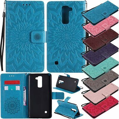 3D Sun Flower Flip Leather Wallet Card Stand Phone Case Cover For LG G3 4 5 6 K7