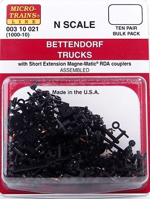 Microtrains - Bulk Pack 10 Pair Short Ext Bettendorf Trucks/bogies
