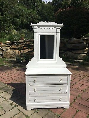Antique Victorian East Lake Dresser with Adjustable Mirror _shabby chic white