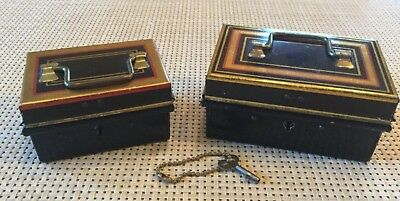 Antique Toleware Small Metal Boxes With Original Key-Mint Cond