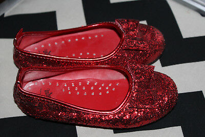 Ruby Red Glitter Dorothy Slippers Shoes Wizard of Oz Girl Sz Big kid 11-12