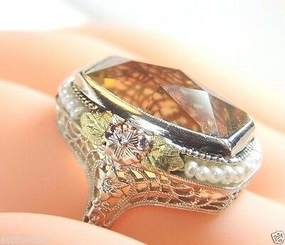Antique Art Deco Vintage Citrine 14K White Gold Ring Size 7.75 UK-P Fine Jewelry