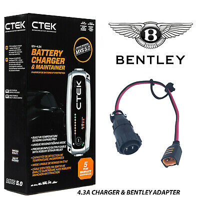 Bentley CTEK 4.3A Battery Charger & Adapter GT Flying Spur Azure Arnage