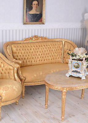 Sofa Set Baroque Couch Set Antique Armchair Marble Table Canapé