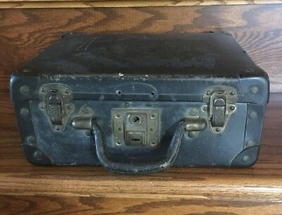 Vintage Small Black Suitcase With Leather Handle And Metal Corners