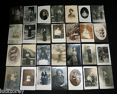 Lot C14 : 28 Cpa Old Carte Photo Femme Miss Lady Couple Enfant Souvenir Famille