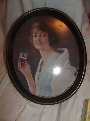 Coca Cola Metal Oval Advertising Tray Woman Holding Coke Collectible