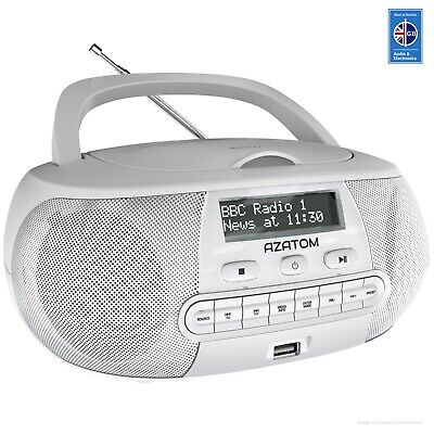 DAB Radio Boombox CD Player Clock USB Portable Digital AZATOM Zenith WHITE