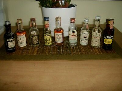 9 Vintage Miniature Glass Liquor Bottles Whiskey and Others