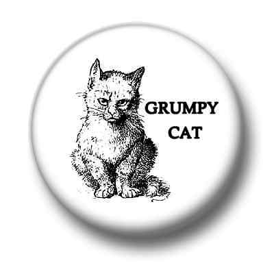 SMALL 25mm GRUMPY CAT PIN BUTTON BADGE