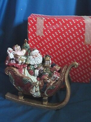 Fitz & Floyd Father Christmas Sleigh Cookie Jar/1995/retired/with Box