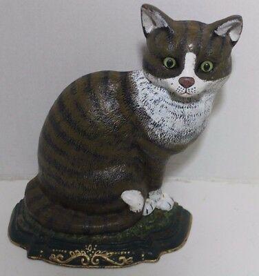 Vintage Cast Iron Gray/White with Black stripes Cat Door Stop With Glass Eyes.