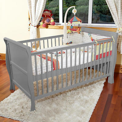 New 4Baby 3 In 1 Grey Monaco Sleigh Cot Bed & Maxi Air Cool Mattress From Birth