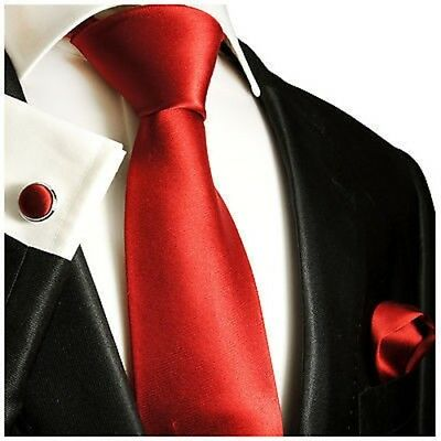 Solid Red Classic Tie with Accessories