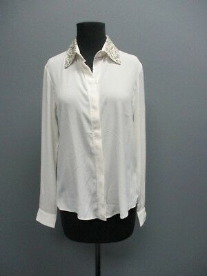 f9da36f027304 WILLOW AND CLAY Cream Long Sleeves Button Front Casual Top Blouse Sz XS  DD5681