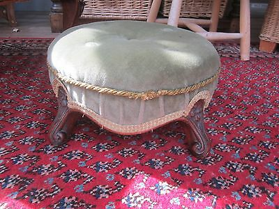 Beautiful round 30CM Victorian upholstered footstool