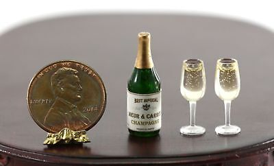 Dollhouse Miniature Green Bottle of Champagne with 2 Filled Glasses