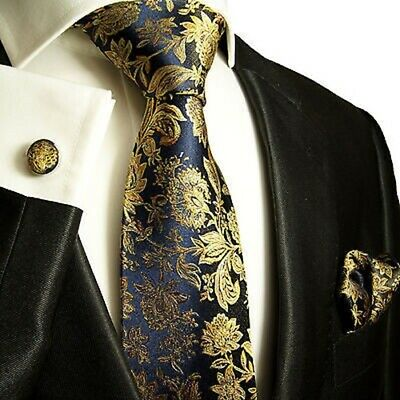 Navy and Gold Silk Tie and Accessories