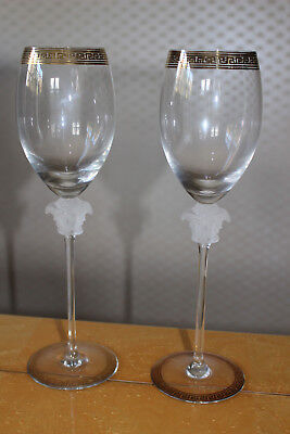 """Rosenthal VERSACE """"D'OR"""" White Wine Glasses - 2 Pieces - Boxed"""