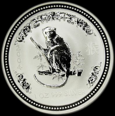 Australia 2004 Silver One Oz Year Of Monkey Reverse Proof Coin