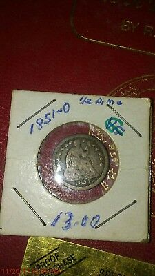 1851-0 American seated half dime encased Coin