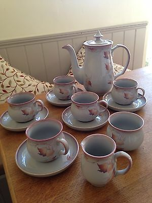Denby Twilight Stoneware Coffee Pot, 6 Cups And Saucers, Milk Jug And Sugar Bowl