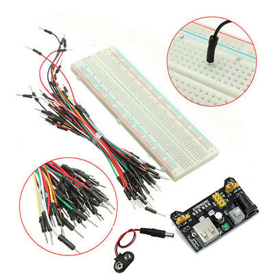 MB-102 830 Point Breadboard + 3.3V 5V Power Supply + 65 Jumpers + Battery Cable