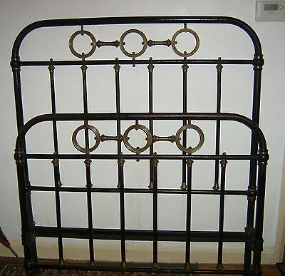Victorian era French Brass / Iron Bed with side irons.Large single.Small Double