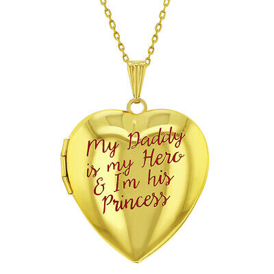 """Princess Girl and Hero Daddy Pink Heart Photo Locket Girls Pendant Necklace 16"""""""