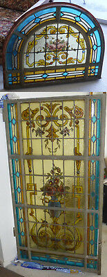 Antique Spanish Leaded Stained Glass Window & Arched Transom.Iron,Hinged,~3'x8'