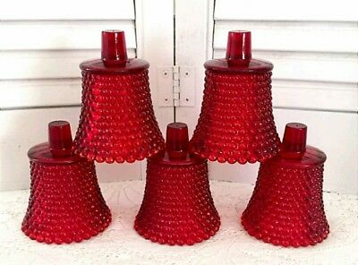 5 Vintage RED HOBNAIL CANDLE HOLDERS GLASS Peg Homco Home Interiors Xmas