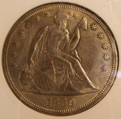 1869 Liberty Seated Dollar ANACS EF45 - Nice With Motto Coin !