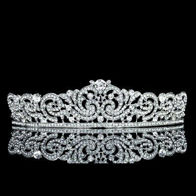 Ribbon Design Rhinestone Crystal Pageant Bridal Tiara Crown T1027