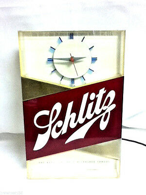 Schlitz lighted clock beer sign blue moon 1959 bar light form 189 brewery gc1