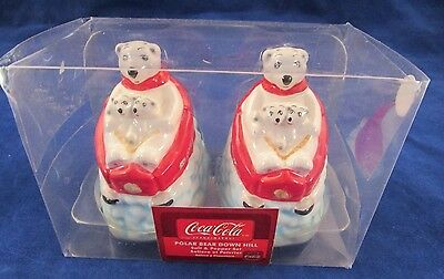Gibson Coca-Cola Polar Bear Down Hill Salt & Pepper Shaker Set NIB {2922-11}
