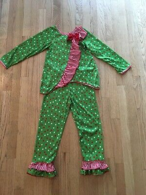 Laura Dare Girls Christmas Pajamas Two Piece Set Dots Stripes Size 7 Ruffle